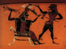 The Birth of Athena, an ancient Greek vase painting, ca 560 BC.